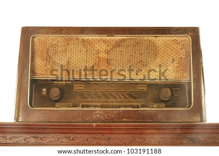 Retro radio isolated on white background - stock photo