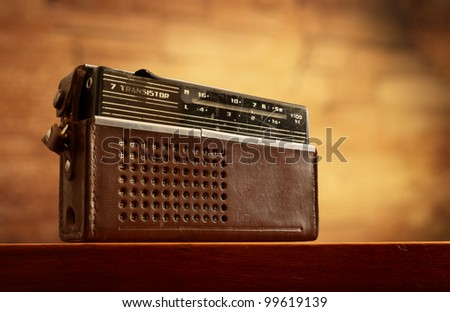 retro radio on grunge blurred wall background