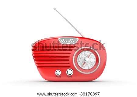 Retro Radio on white background. Computer generated image.