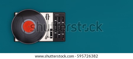 retro record player isolated on colored background with copy space
