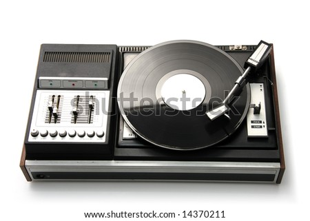 Retro record player, isolated on white