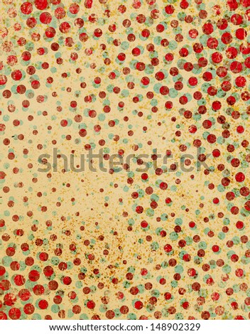 Retro red and cyan polka dot pattern with stains