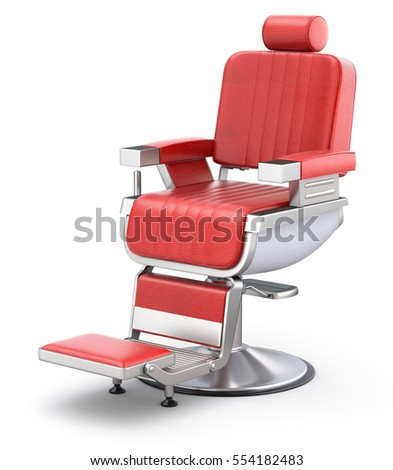 retro red barber chair on white ...