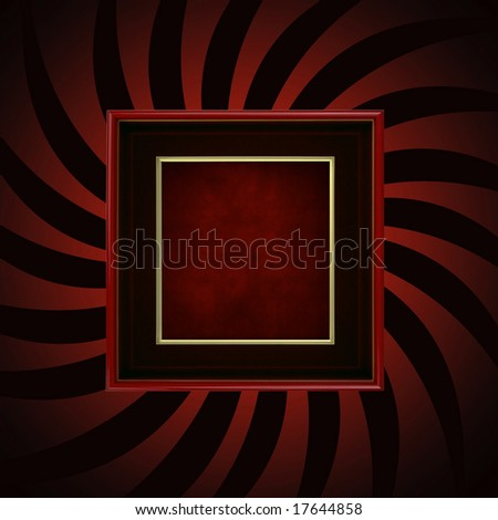 Retro red frame on red and black abstract burst