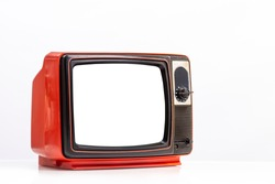 Retro red old television receiver with cut out screen isolated on white background