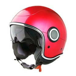 Retro Red Open Face Modern Motorcycle Helmet Isolated on White. Cruiser Scooter Flip Up Motorbike Helm with Retractable Double Visor. Side View Scooter Headgear. Sports Gear. Protective Equipment