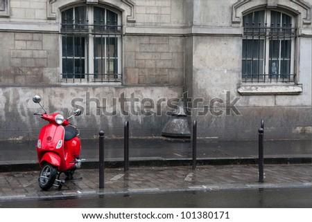 Retro red scooter in Paris street #101380171
