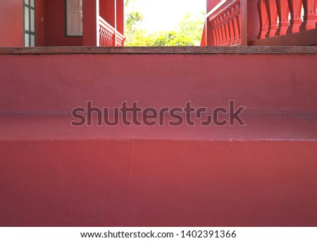 Retro red stairs - building vintage