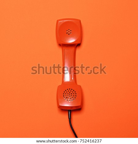 retro red telephone tube on...