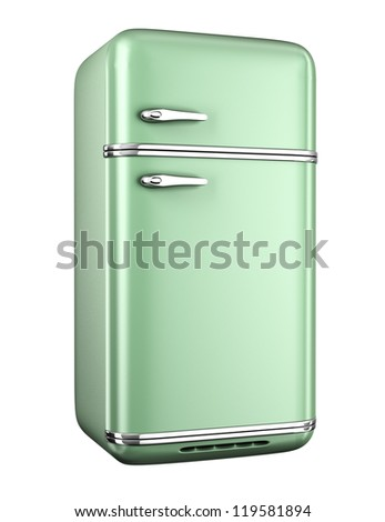 Retro refrigerator - isolated on white background