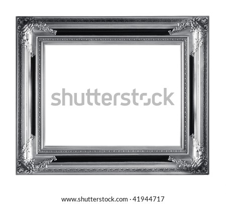 Retro Revival Old Silver Frame. Vintage silver picture frame isolated on white.