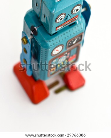 retro robot toy from above
