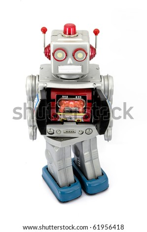 retro robot toy with ray gun