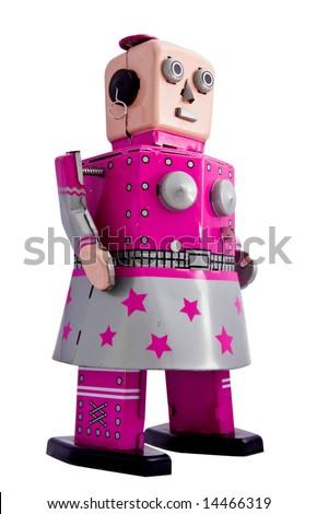 retro robot toy  woman
