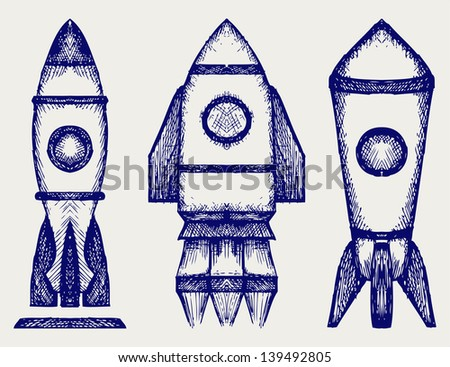 Retro rocket. Doodle style. Raster version