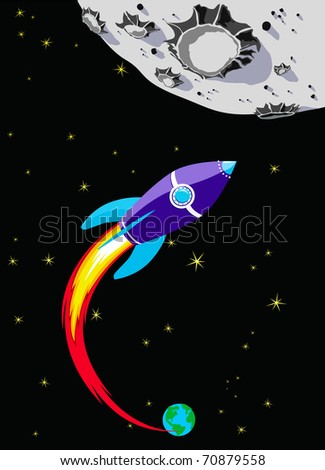 Retro Rocket Spaceship to the Moon - Reach for the stars - Vector file also available