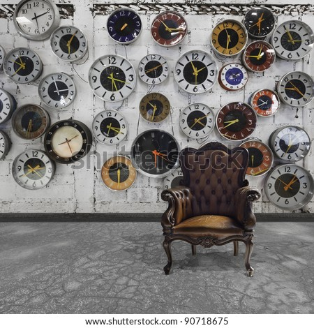 retro room with clocks decorated on the wall
