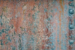 Retro Rusty Metal Wall Background. Old Scratched Paint Texture. Rough Grunge Iron Material.