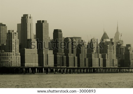 Retro 1930s look of midtown Manhattan skyline