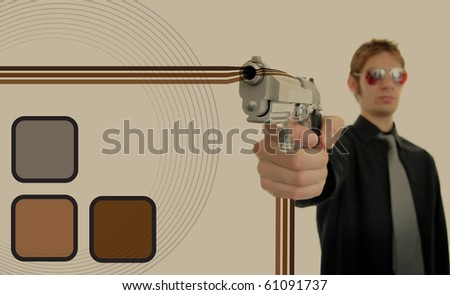 Retro 70s thug gangster holds his firearm up at gunpoint with oldschool brown graphic design patterns around him making a background