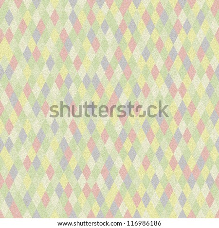 Retro Seamless Colorful Faded Argyle Pattern with Paper Texture. Old Rhombus Background