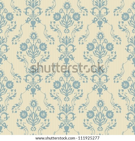 retro seamless pattern with blue flowers