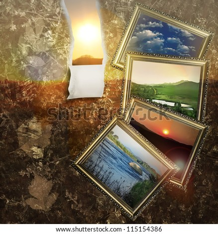 Retro season background with picture frames and sun shining  through piece of paper - stock photo