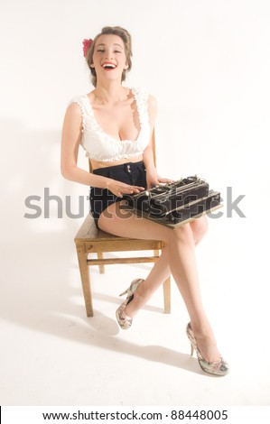 Retro secretary in pin-up stile