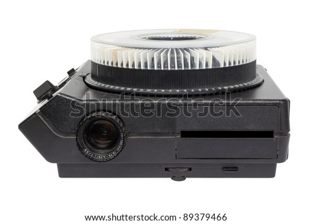 Retro, slide projector with slides in tray.