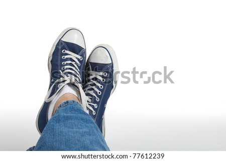 Retro sneakers on a white background