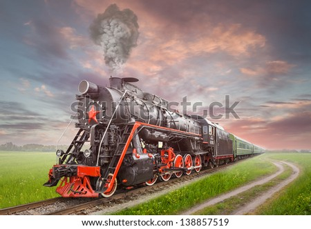 Retro Soviet steam locomotive
