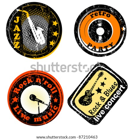 retro stamps for music concerts and parties isolated on white