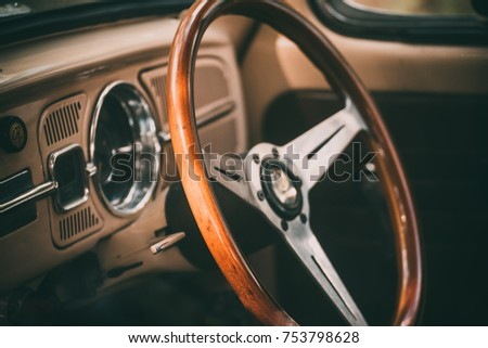 retro steering wheel in old car