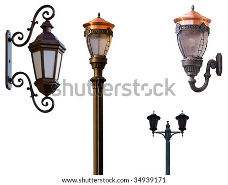 Retro street lamps isolated on white