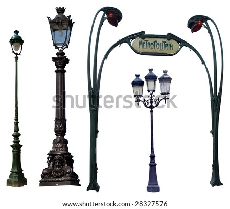 Retro street lamps isolated on white. Clipping path included
