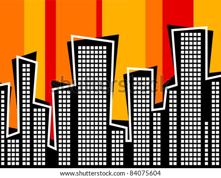 Retro Style Animated Cityscape Illustration - High Resolution JPEG Version. (vector version also available).