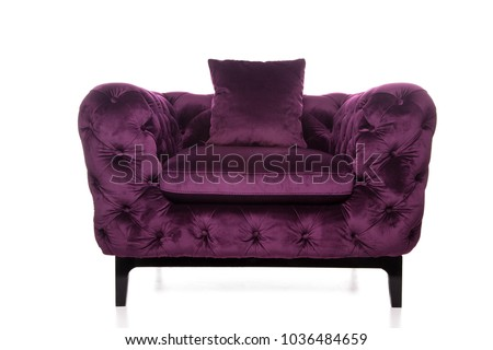 Retro Style Armchair,old Styled Dark Purple Vintage Armchair Isolated On  White Background. #