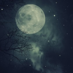Retro style artwork with cloudy skies, full moon and old tree