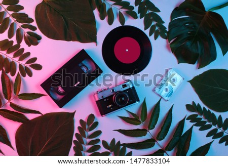 Retro style background. Retro camera, vinyl record, audio cassette, vhs among green leaves on background with gradient neon blue pink light. Top view #1477833104