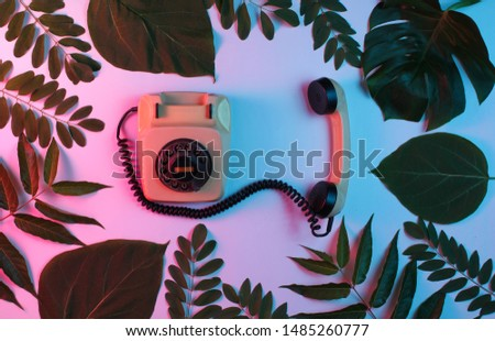 Retro style background. Retro rotary phone among green leaves on background with gradient neon blue pink light. Top view #1485260777