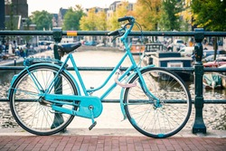 Retro style bicycle in Amsterdam, Netherlands