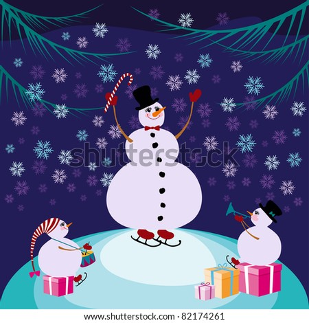 Retro style Christmas Card(Snowmen)