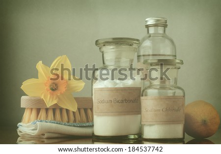 Retro style cross processed image of natural cleaning products, including sodium bicarbonate, salt, white vinegar and lemon, folded cloth, bristle brush and a daffodil to suggest Spring cleaning.