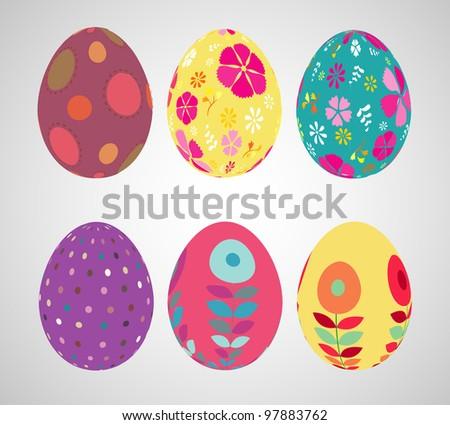 Retro style Easter eggs.