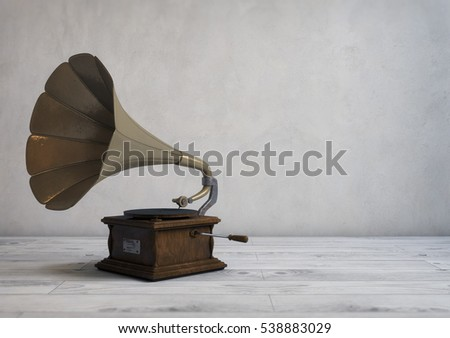 Retro style gramophone in a modern room. 3D illustration #538883029