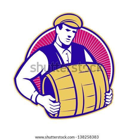 Retro style illustration of a bartender carrying keg barrel of beer set inside circle on isolated white background.