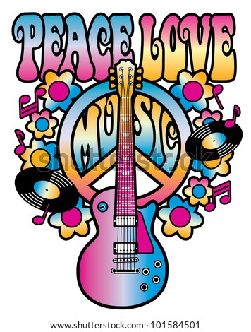 Retro-style illustration of a guitar and peace symbol with the words Peace Love Music. Type style is my own design.
