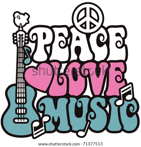 Retro -style illustration of a guitar, peace symbol and dove with the words Peace, Love and Music. Type style is my own design.