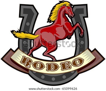 "retro style illustration of a prancing horse with horseshoe in background and scroll in foreground with words ""rodeo"""