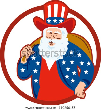 Retro style illustration of american santa claus saint nicholas father christmas uncle sam on isolated white background set inside circle.